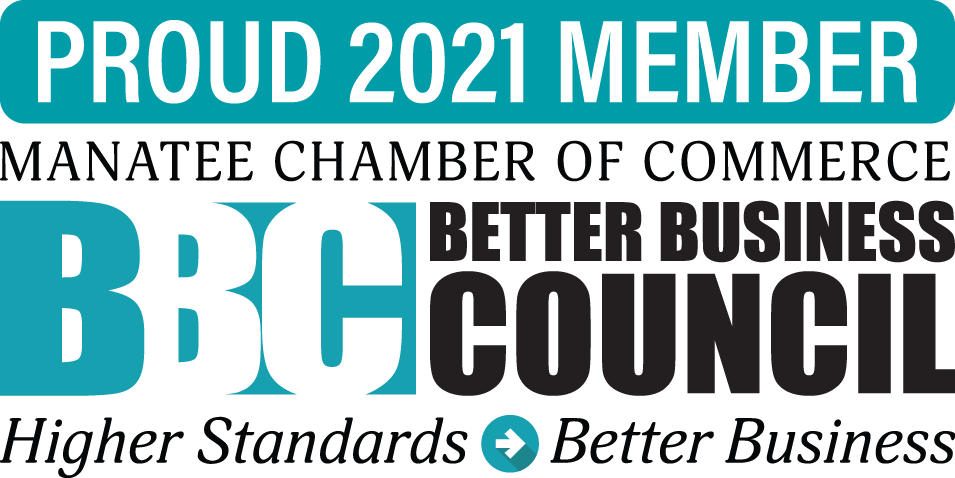 2021 Manatee Chamber Better Business Council Proud Member Logo Bradenton Florida Lakewood Ranch Parrish Ellenton Palmetto Anna Maria Island Higher Standards BBC